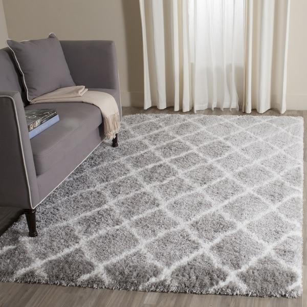 Safavieh Indie Shag Trellis Grey/ Ivory Polyester Rug (4' x 6')