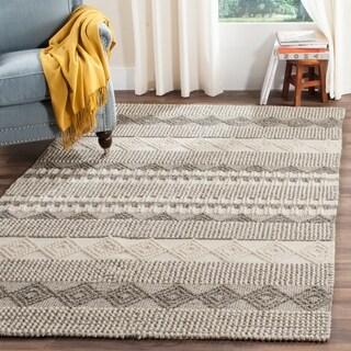 Safavieh Handmade Natura Grey/ Ivory Wool Rug (6' x 9')