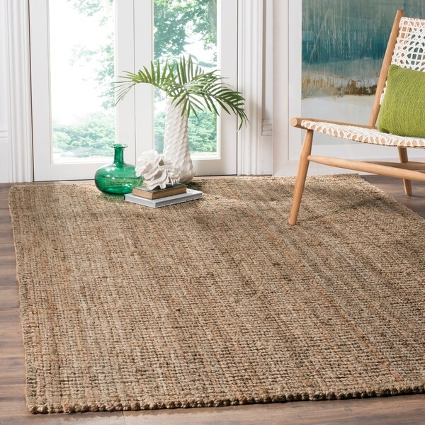 Safavieh Casual Natural Fiber Hand-Woven Natural / Grey Chunky Thick Jute Rug - 5' x 8'