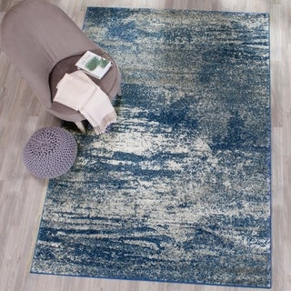 Safavieh Evoke Vintage Modern Abstract Navy / Ivory Distressed Rug (6' 7 x 9')
