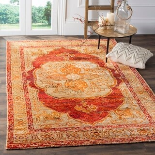 Safavieh Hand-Knotted Tangier Red Orange/ Beige Wool Rug (5' x 8')