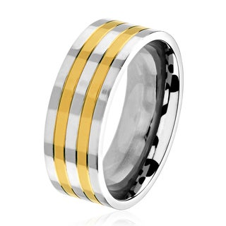 Men S Two Tone Polished Titanium Striped Comfort Fit Ring 8mm Wide White