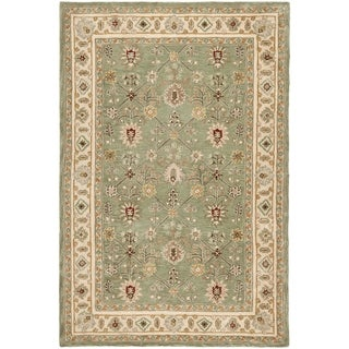 Safavieh Hand-hooked Total Perform Green/ Ivory Acrylic Rug (6' x 9')
