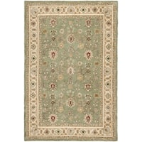 Safavieh Hand-hooked Total Perform Green/ Ivory Acrylic Rug - 6' x 9'