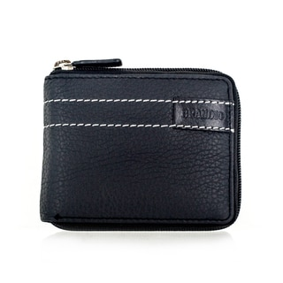 Faddism Brandio Series Men's Leather Black Zipper Bifold Wallet