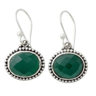 Handcrafted Sterling Silver 'Green Transformation' Onyx Earrings (Nepal)