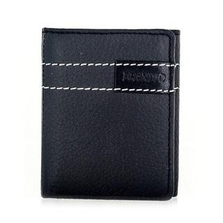 Faddism Brandio Series Men's Black Leather Trifold Wallet