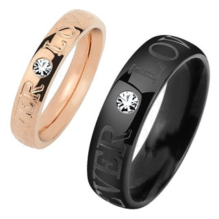 'Forever Love' Engraved Cubic Zirconia Two Tone Polished Titanium Ring - 4mm Wide