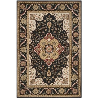 Safavieh Hand-hooked Easy to Care Black/ Cream Rug (6' x 9')