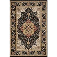 Safavieh Hand-hooked Easy to Care Black/ Cream Rug - 6' x 9'
