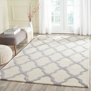 Safavieh Handmade Cambridge Ivory/ Silver Wool Rug (12' x 18')