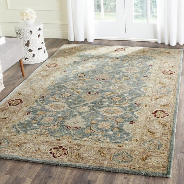 Safavieh Handmade Antiquity Teal Blue Taupe Wool Rug 5