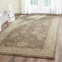 Safavieh Handmade Antiquity Olive Grey/ Beige Wool Rug - 5' x 8'