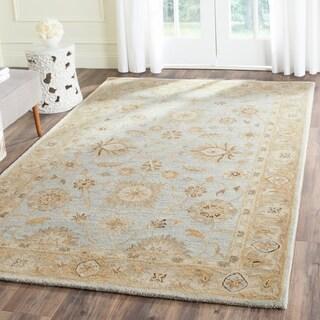 Safavieh Handmade Antiquity Light Blue/ Sage Wool Rug (5' x 8')