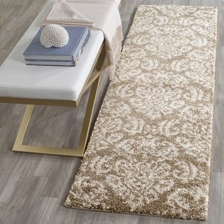 Safavieh Florida Shag Beige/ Cream Damask Runner (2' 3 x 13')