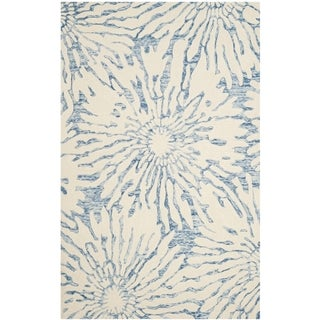 Safavieh Handmade Bella Tilda Modern Floral Wool Rug (26 x 4 - Dark Blue/Ivory)