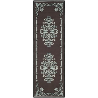 Safavieh Hand-hooked Easy to Care Chocolate/ Multi Rug (2' 6 x 8')