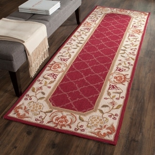 Safavieh Hand-hooked Easy to Care Burgundy/ Ivory Rug (2' 6 x 8')