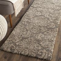Safavieh Florida Shag Smoke/ Beige Damask Runner (2' 3 x 7')