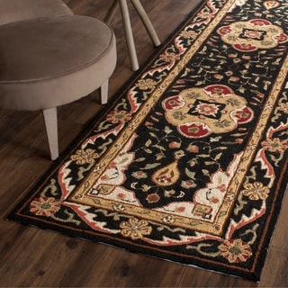 Safavieh Hand-hooked Easy to Care Black/ Cream Rug (2' 6 x 10')