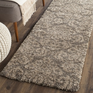 Safavieh Florida Shag Smoke/ Beige Damask Runner (2' 3 x 8')