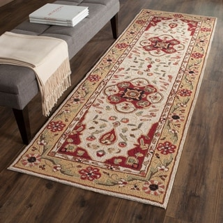 Safavieh Hand-hooked Easy to Care Cream/ Red Rug (2' 6 x 10')
