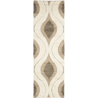 Safavieh Florida Shag Cream/ Smoke Geometric Ogee Runner (2' 3 x 13')