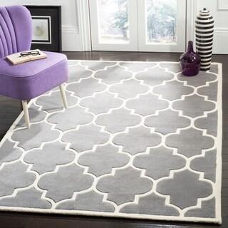 Safavieh Handmade Chatham Dark Grey/ Ivory Wool Rug (11' x 15')