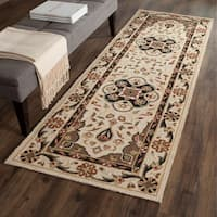 Safavieh Hand-hooked Easy to Care Cream/ Olive Rug (2' 6 x 8')