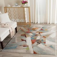 Safavieh Porcello Modern Abstract Brushstrokes Grey/ Multi Rug - 5' x 8'