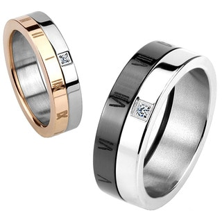 Roman Numeral Cubic Zirconia Two Tone Polished Titanium Ring - 5mm Wide