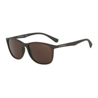 Emporio Armani Men's EA4074 550373 Brown Plastic Rectangle Sunglasses