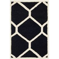 Safavieh Handmade Cambridge Black/ Ivory Wool Rug - 2' X 3'