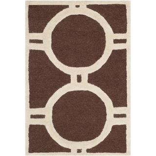 Safavieh Handmade Cambridge Dark Brown/ Ivory Wool Rug (2' x 3')