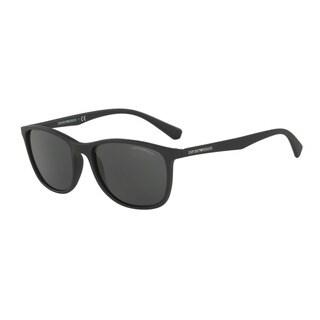 Emporio Armani Men's EA4074 504287 Black Plastic Rectangle Sunglasses