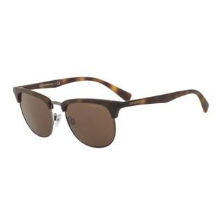 Emporio Armani Men's EA4072 508973 Havana Plastic Square Sunglasses
