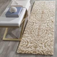 "Safavieh Florida Shag Ornate Cream/ Beige Damask Runner - 2'-3"" x 10'"