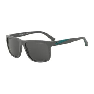 Emporio Armani Men's EA4071 550287 Grey Plastic Square Sunglasses
