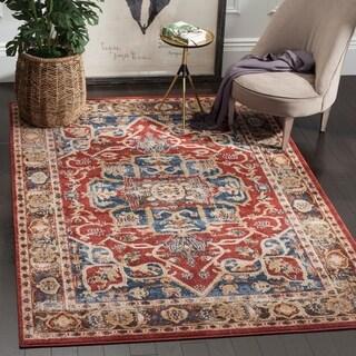 Safavieh Bijar Traditional Oriental Red/ Royal Blue Distressed Rug (6' 7 x 9')