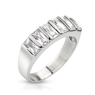 Baguette Cubic Zirconia Polished Stainless Steel Ring - 6mm Wide