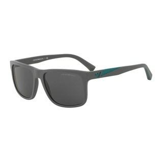 Emporio Armani Men's EA4071F 550287 Grey Plastic Square Sunglasses