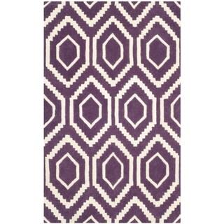 Safavieh Handmade Chatham Purple/ Ivory Wool Rug (2' x 3')