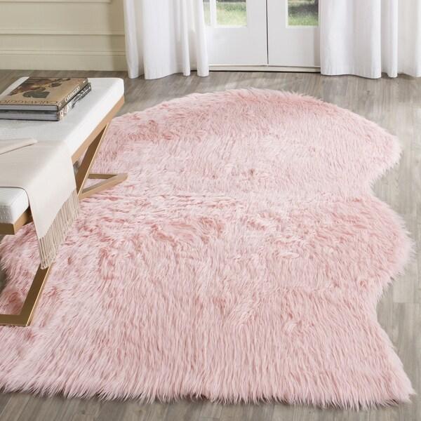 Safavieh Faux Sheepskin Rug: Safavieh Handmade Faux Sheepskin Pink Japanese Acrylic Rug