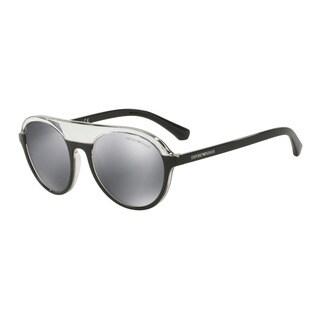 Emporio Armani Men's EA4067 55226G Black Plastic Round Sunglasses