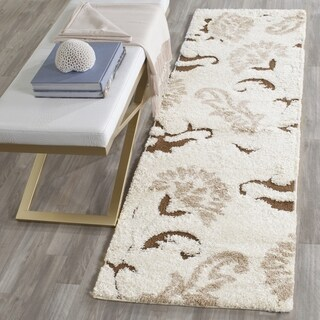 Safavieh Florida Shag Elegant Cream/ Dark Brown Runner (2' 3 x 7')