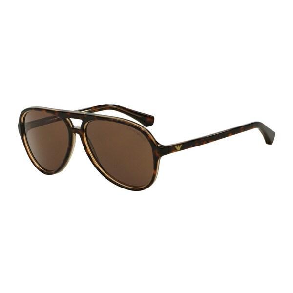 bfa358bfb7c8 Emporio Armani Men  x27 s EA4063F 546573 Havana Plastic Pilot Sunglasses