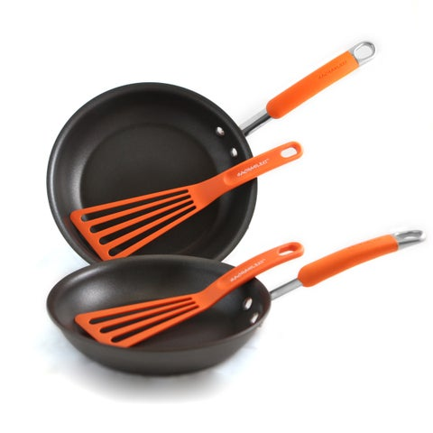 Rachael Ray Orange 4 Piece Open Skillets and Tool Set