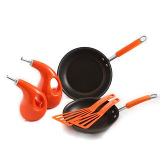 Rachael Ray Orange Hard Anodized 6 Piece Skillets, EVOO & Tool Set