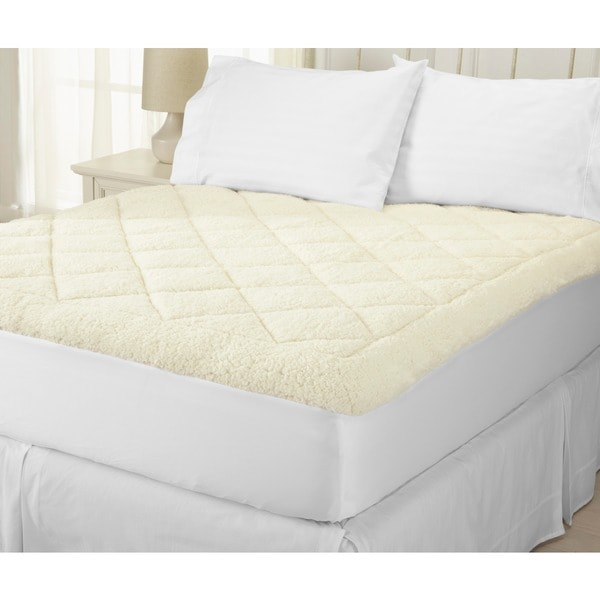 Home Fashion Designs All-Season Two-in-One Reversible Sherpa Fitted Mattress Pad - White