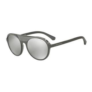 Emporio Armani Men's EA4067 55216G Grey Plastic Round Sunglasses